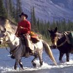 Cowboy crossing the Red Deer River